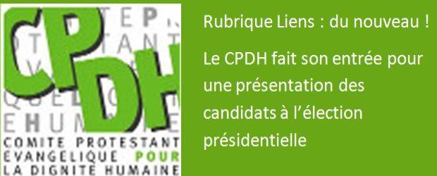 >>> Lien CPDH : Comité Protestant pour la Dignité Humaine  >>> Lien Savez vous pour qui voter ? :http://x8zs.r.ca.d.sendibm2.com/nln4nkvnqojf.html